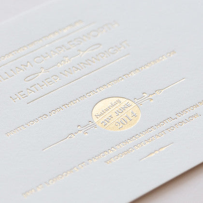 Sample - St Pancras Letterpress Invitation Gold on Ivory