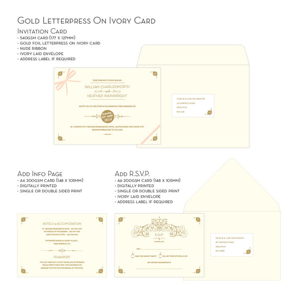 St Pancras Collection Letterpress Invitation, Gold on Ivory
