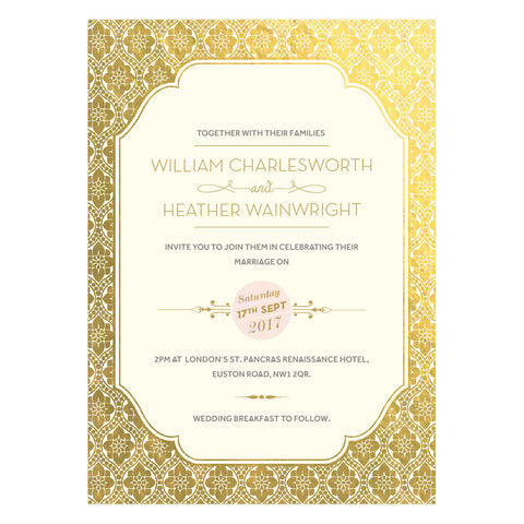 Love Lace Metallics Supa Simple Invitation, 4 foil colour options