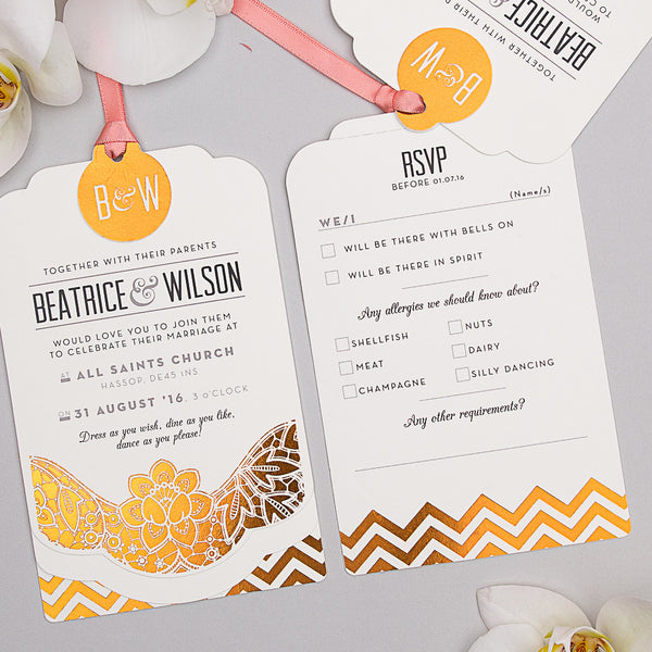 Modern Metallics Luxe Invitation suite in Copper foil on Ivory