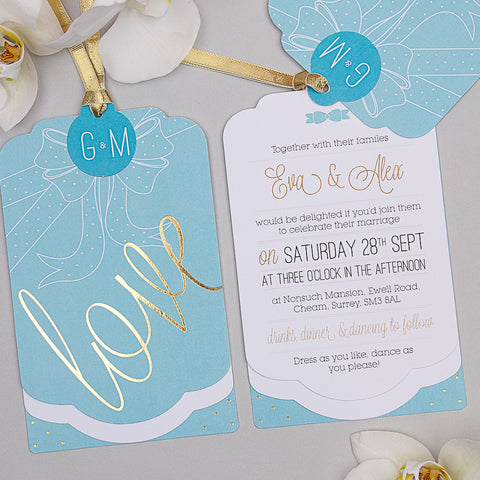 Holly Golightly Luxe Invitation suite in Hepburn Blue