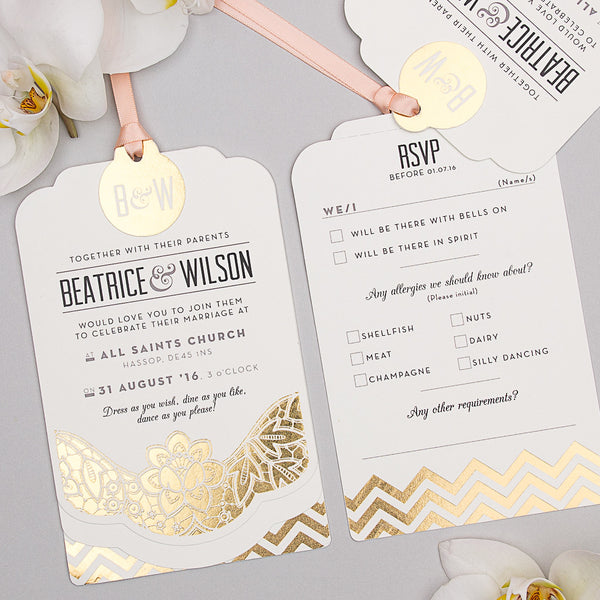 Sample - Modern Metallics Luxe Invitation in Gold foil on Ivory