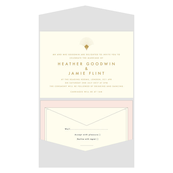 Marylebone Letterpress Invitation, Gold foil on Ivory