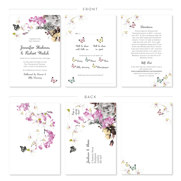 Butterfly invitation - page details