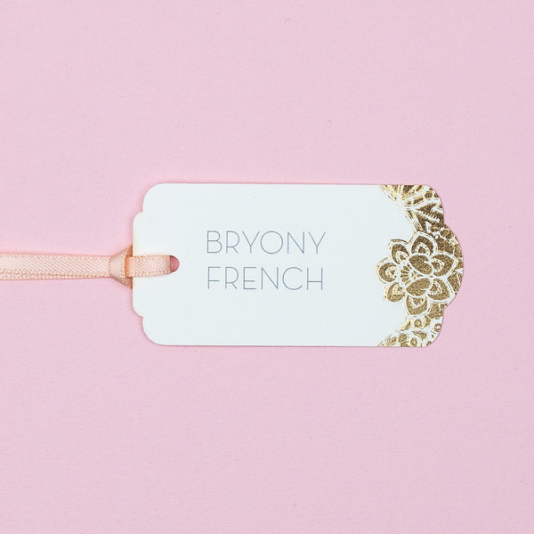 Sample - Modern Metallics foiled Lace Luggage Tag place card