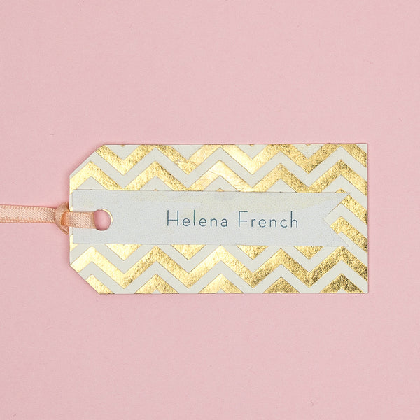 Modern Metallics Chevron Luggage Tag place card, personalised