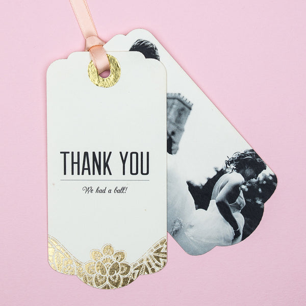 Modern Metallics Thank You Luggage Tag, 4 colour options