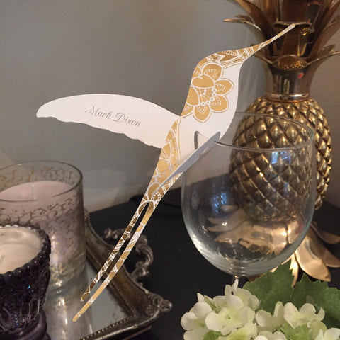 Modern Metallics Foiled Hummingbird Wine Glass Place Cards, personalised