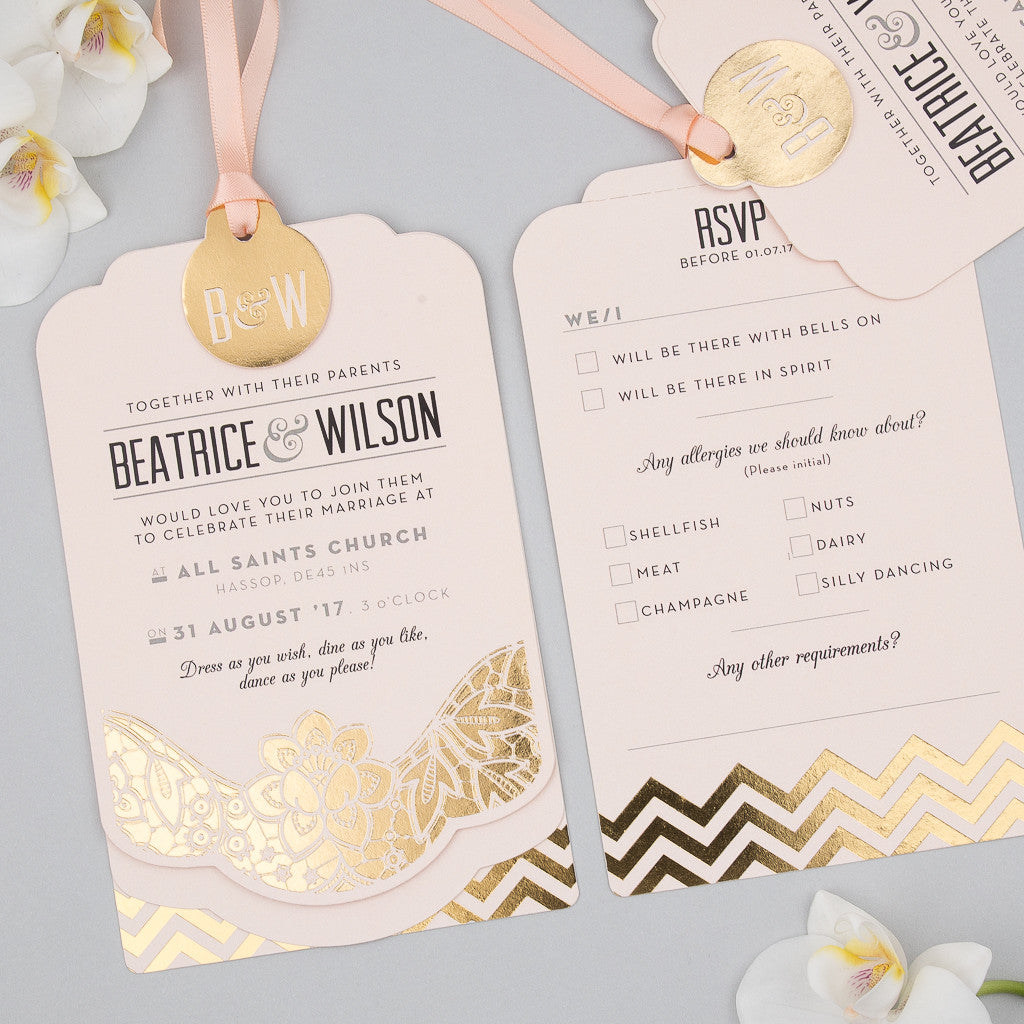 a8cdb7f48f7 Modern Metallics Luxe Invitation suite in Gold foil on Blush