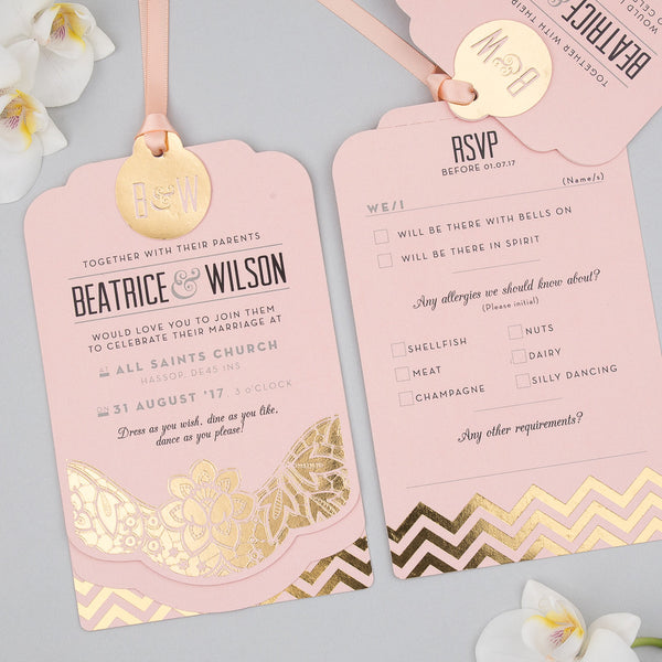 Modern Metallics Luxe Invitation suite in Gold foil on Rose