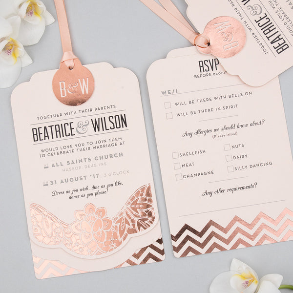 Modern Metallics Luxe Invitation suite in Rose Gold foil on Blush