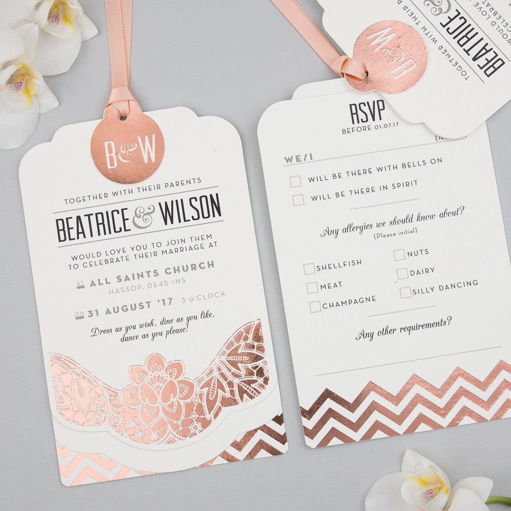 Sample Modern Metallics Luxe Invitation in Rose Gold foil on Ivory