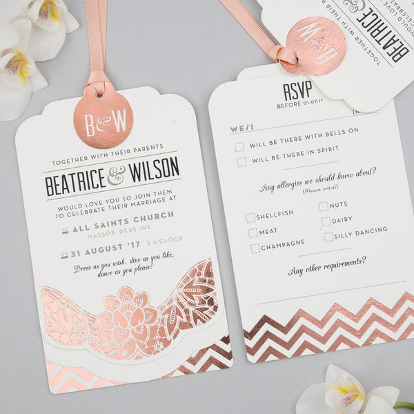 Modern Metallics Luxe Invitation suite in Rose Gold foil on Ivory