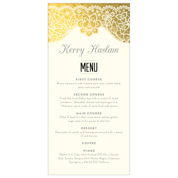 Modern Metallics Combined Classic Foil Menu & Place Card