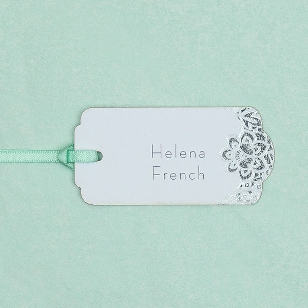 Modern Metallics Lace Luggage Tag Place Card, personalised