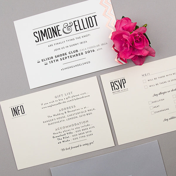 Modern Metallics Invitation suite in Rose Gold foil on Ivory
