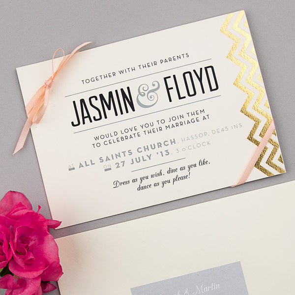 Modern Metallics Invitation suite in Gold foil on Ivory