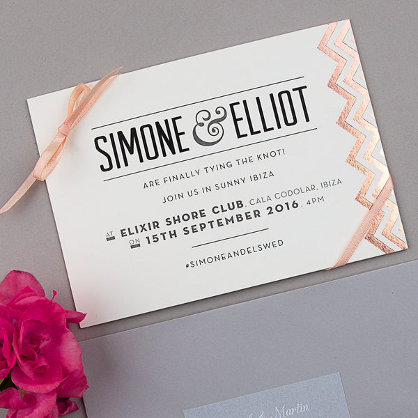 Sample - Modern Metallics Invitation in Rose Gold/Ivory