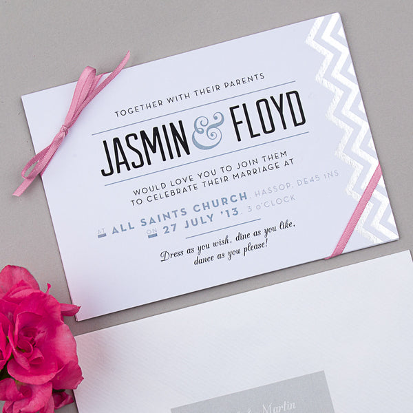 Modern Metallics Invitation suite in Silver foil on White