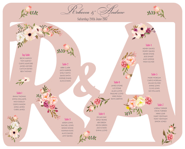 Floral Affair Monogram Table Plan