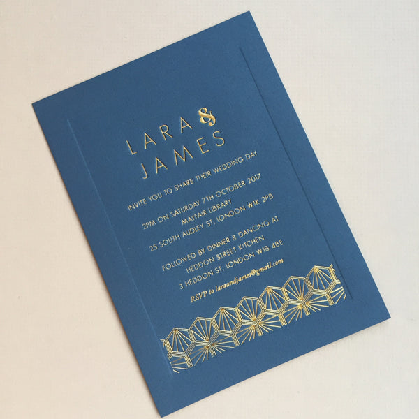 Como Letterpress Invitation suite, Gold foil on Navy