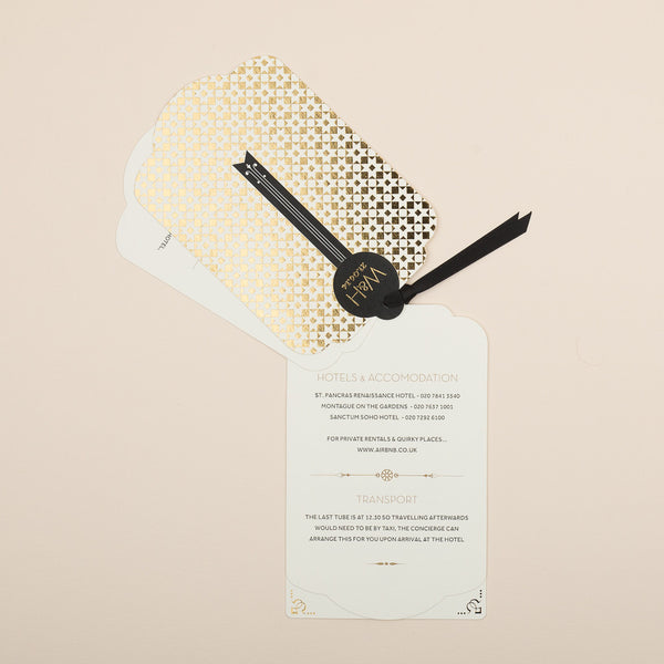 Sample - Geo Star Luxe Invitation in Gold foil on Ivory