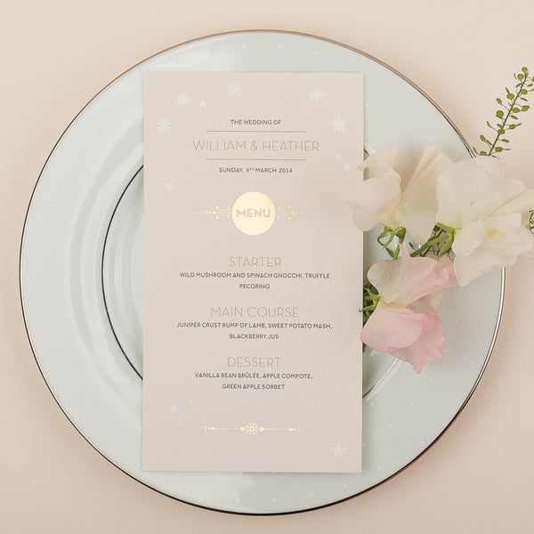 Stardust Classic foil Menu, 3 colour options