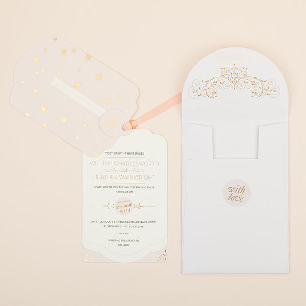 Stardust Luxe Invitation suite in Gold foil on Blush