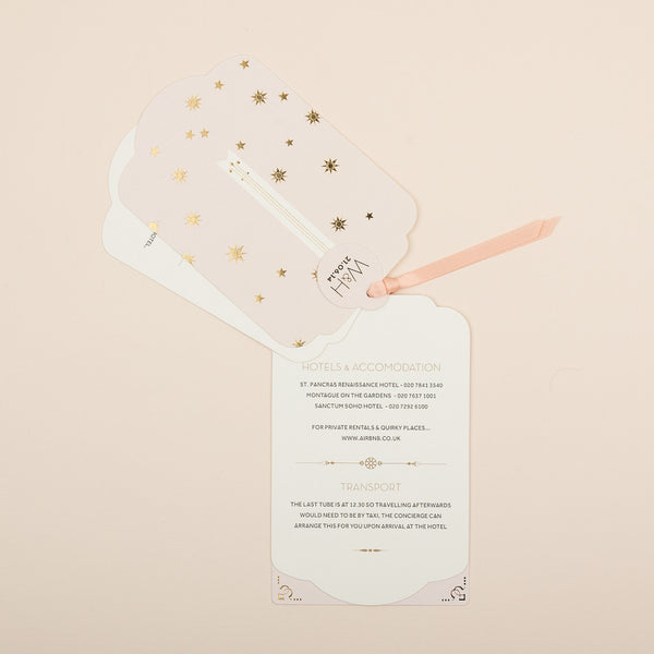 Sample - Stardust Luxe Invitation in Gold foil on Blush