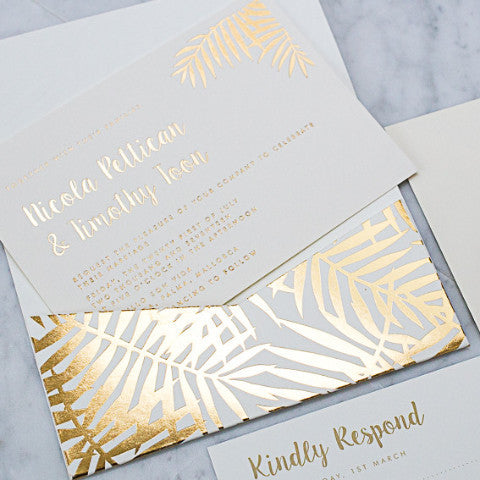 Ivory Palms Letterpress Invitation suite, with foiled Palm pocketfold envelope