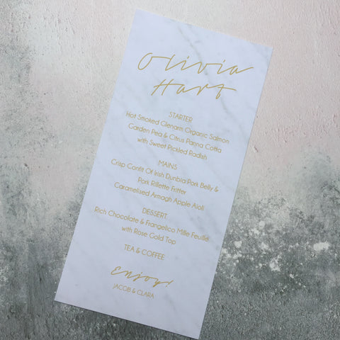 Marble Combined Classic Menu & Place Card