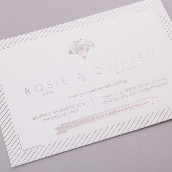 Portofino Letterpress Invitation Suite, Champagne foil on Ivory
