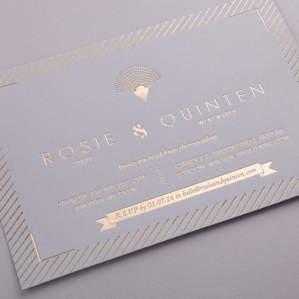 Sample - Portofino Invitation Gold foil on Grey Mink Board