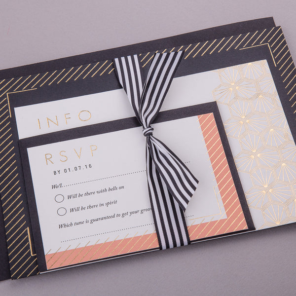 Portofino Letterpress Invitation Suite, Gold foil on Black