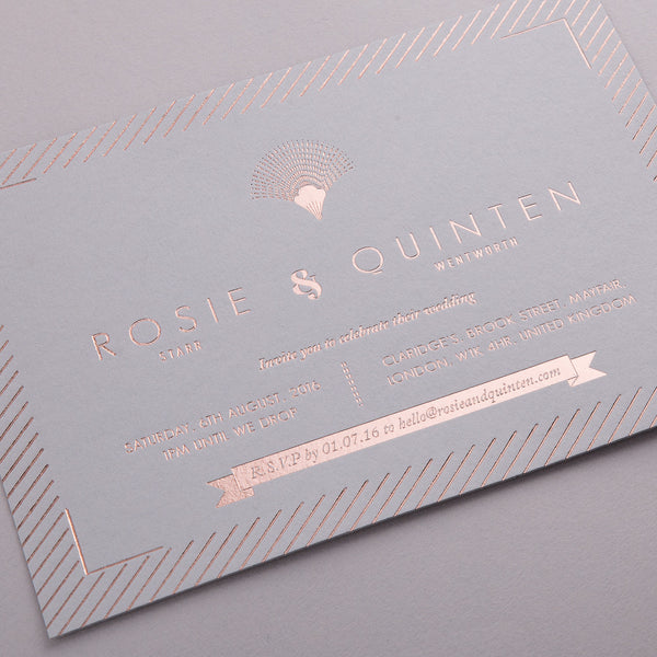 Sample - Portofino Invitation Rose Gold foil on Grey Mink Board