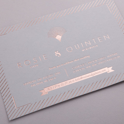 Portofino Letterpress Invitation Suite, Rose Gold foil on Grey