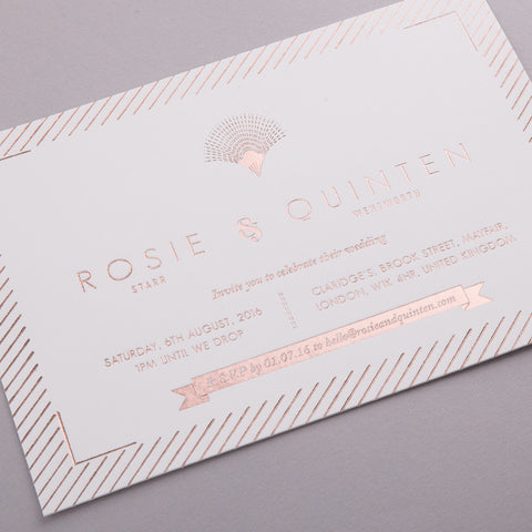 Portofino Letterpress Invitation Suite, Rose Gold foil on Ivory