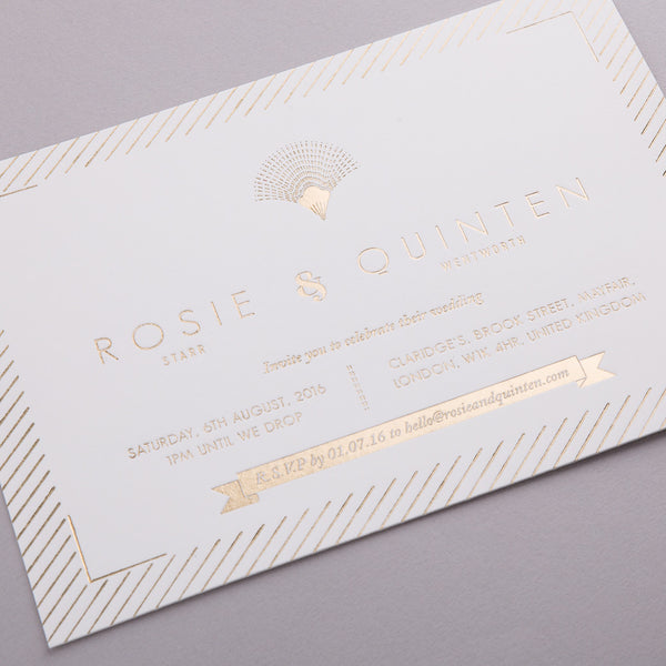 Portofino Letterpress Invitation Suite, Gold foil on Ivory
