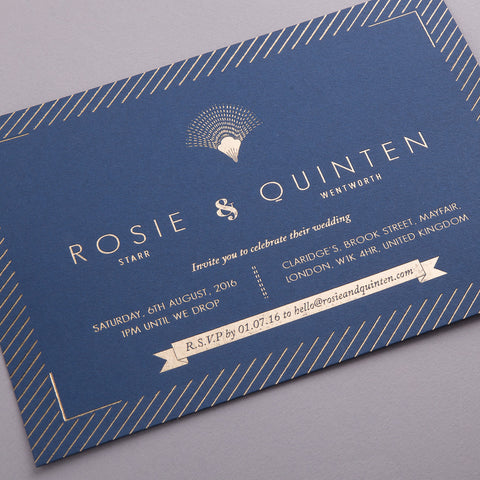 Portofino Letterpress Invitation Suite, Gold foil on Navy