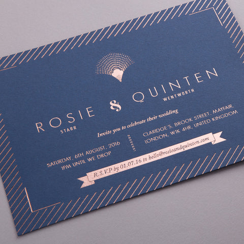 Sample - Portofino Invitation Rose Gold foil on Navy Board