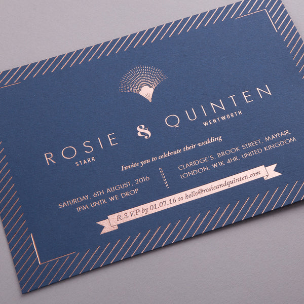 Portofino Letterpress Invitation Suite, Rose Gold foil on Navy