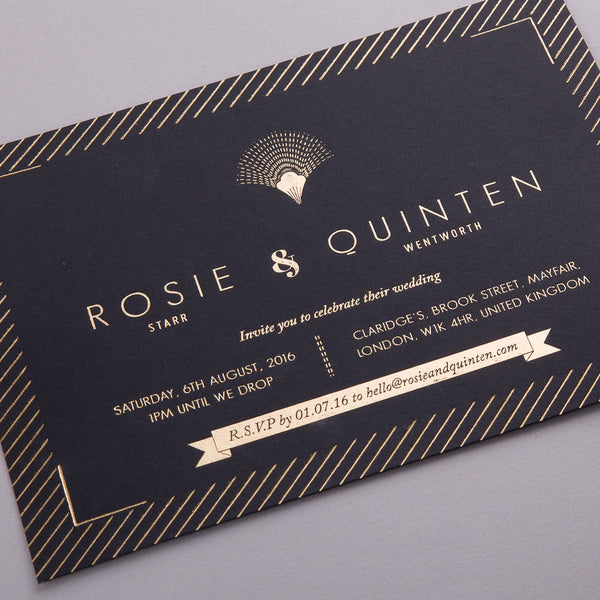 Sample - Portofino Invitation Gold foil on Black Board