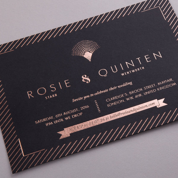 Portofino Letterpress Invitation Suite, Rose Gold foil on Black