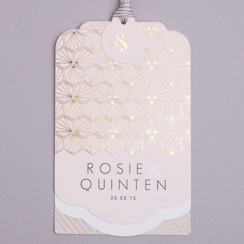 Portofino Luxe Invitation suite in Gold foil on Blush & Mink Grey