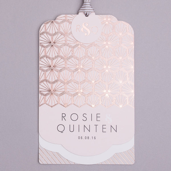 Portofino Luxe Invitation suite in Rose Gold foil on Blush & Mink Grey