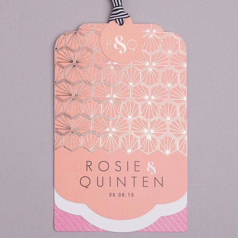 Portofino Luxe Invitation suite in Rose Gold foil on Coral & Bubblegum Pink