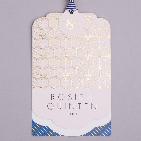 Sample - Portofino Luxe Invitation suite in Gold foil on Blush & Navy