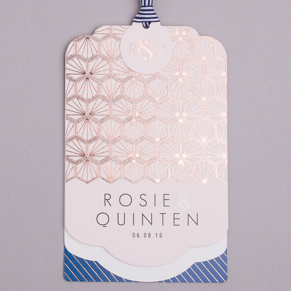 Sample - Portofino Luxe Invitation suite in Rose Gold foil on Blush & Navy
