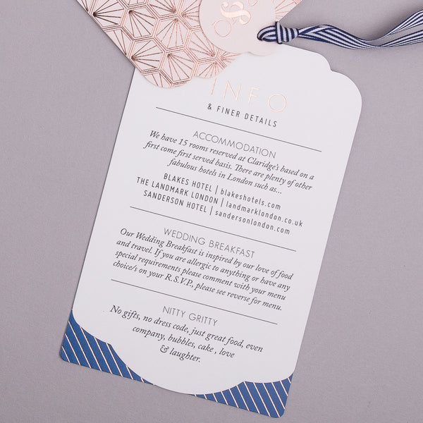 Portofino Luxe Invitation suite in Rose Gold foil on Blush & Navy