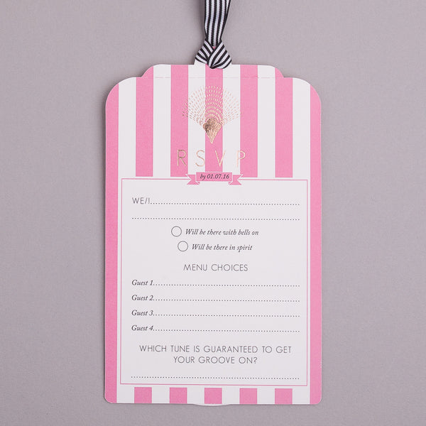 Portofino Luxe Invitation suite in Gold foil on Coral & Bubblegum Pink